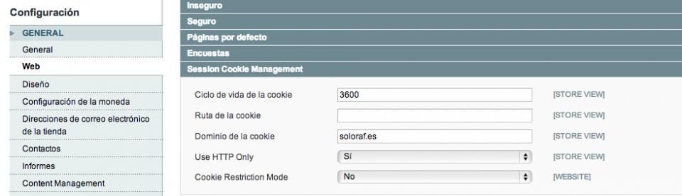 Configuración   Sistema   Administracion de Magento